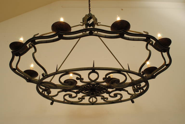 French Wrought And Painted Iron Oval Esque Two Tier Eight