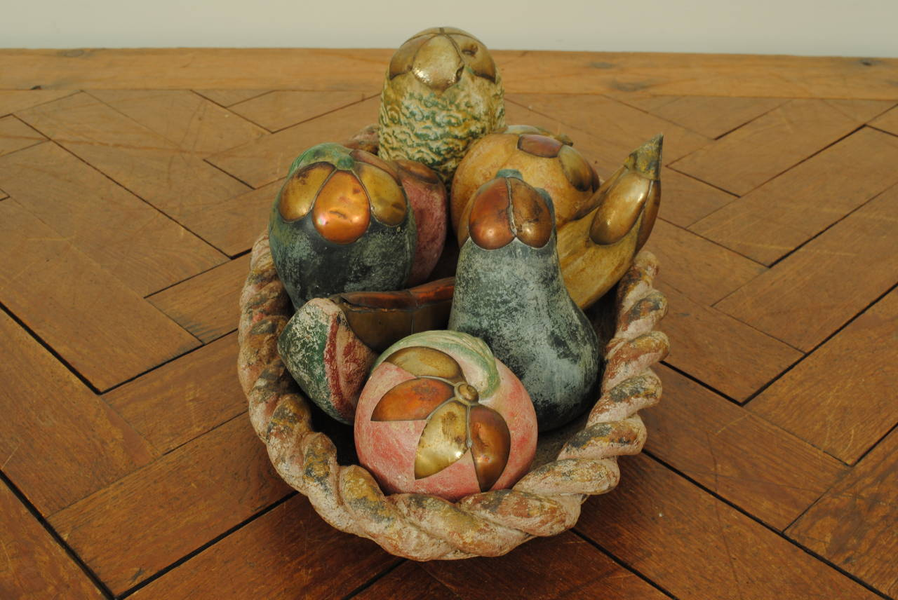painted ceramic brass and copper fruit basket
