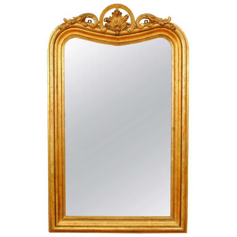 A large french louis philippe carved giltwood salon mirror for Big salon mirrors