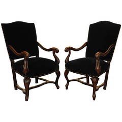 Near Pair Italian, Naples, Walnut & Blue Velvet Upholstered Armchairs, mid 18thc