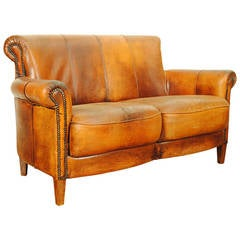 French Late Art Deco Leather Upholstered Settee Trimmed in Nailheads