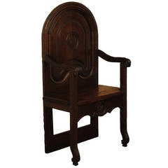 18th Century French Carved Oak Hall Fauteuil