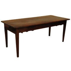 French Late Neoclassical Provincial Pinewood and Walnut, Two-Drawer Table