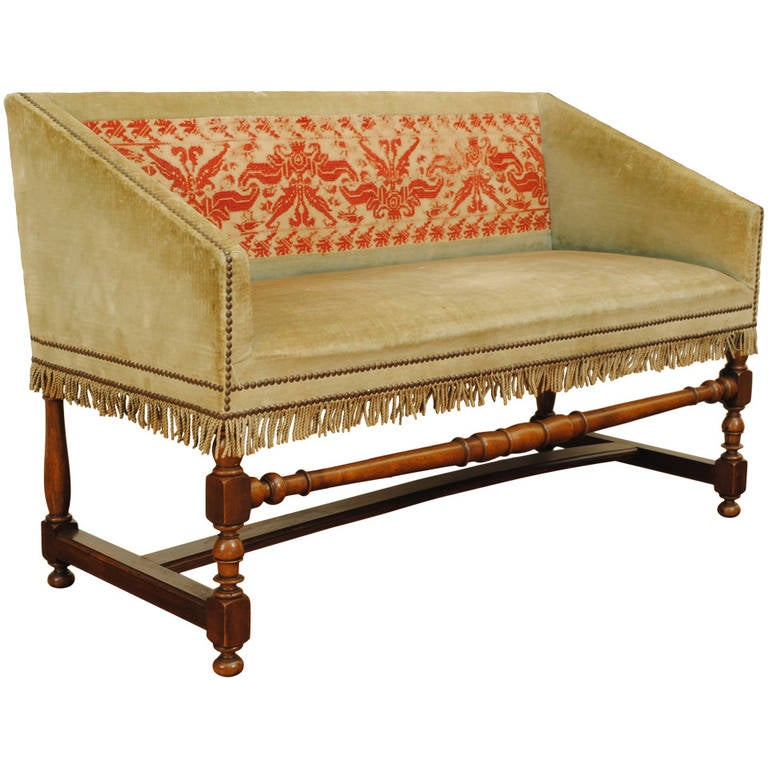 French lxiii style walnut and upholstered petit canap at for Petit canape