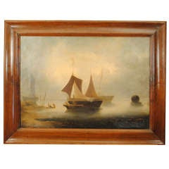 An Italian Oil on Canvas, 19th Cen, Sailing Vessels in Harbor, signed lower left