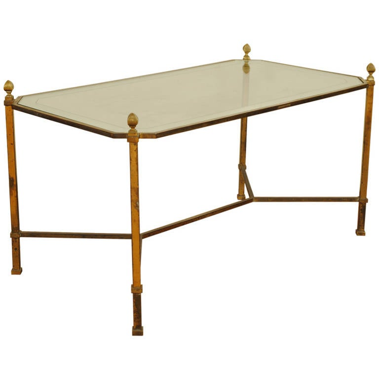 French neoclassical style brass and mirrored glass coffee for French glass coffee table
