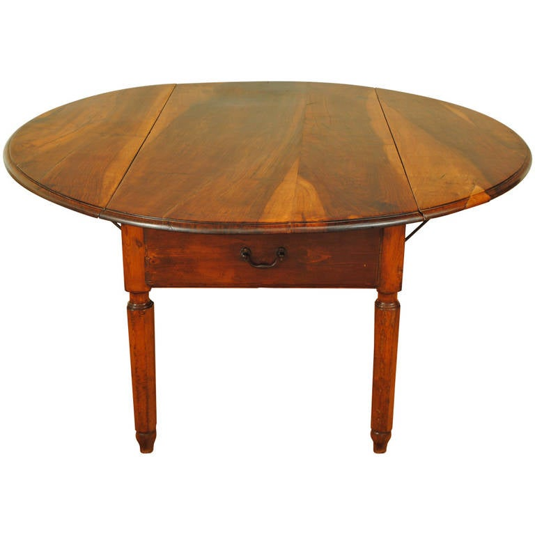 Walnut Kitchen Table: Large Italian Neoclassic Provincial Pine And Walnut