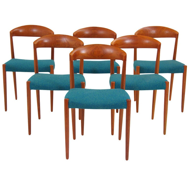 danish modern teak dining chairs by harbo solvsten and