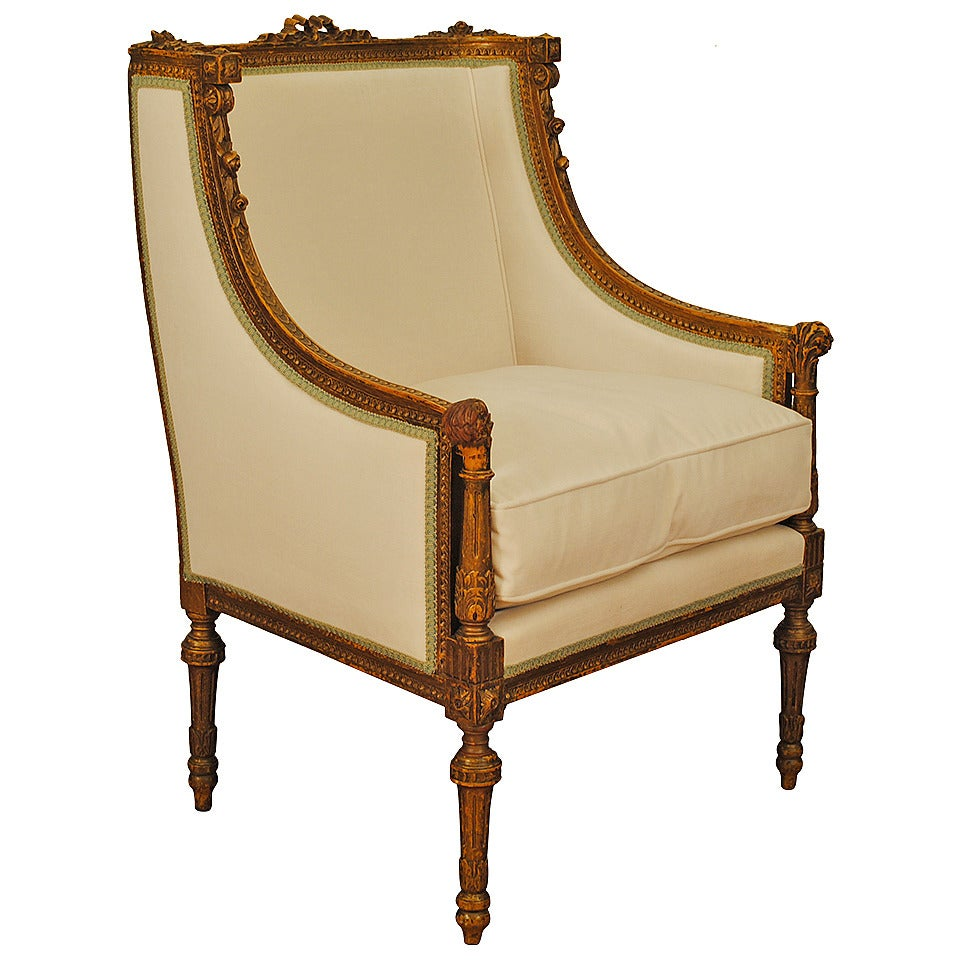 French louis xvi style carved gitwood and painted bergere