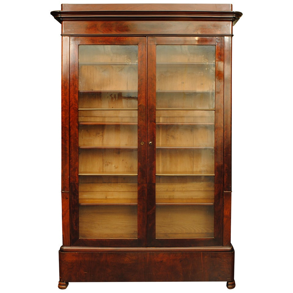 French Louis Philippe Mahogany Shallow Bookcase Cabinet