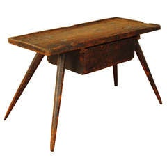 A German Early 19th Century Pinewood Low 1-Drawer Work Table