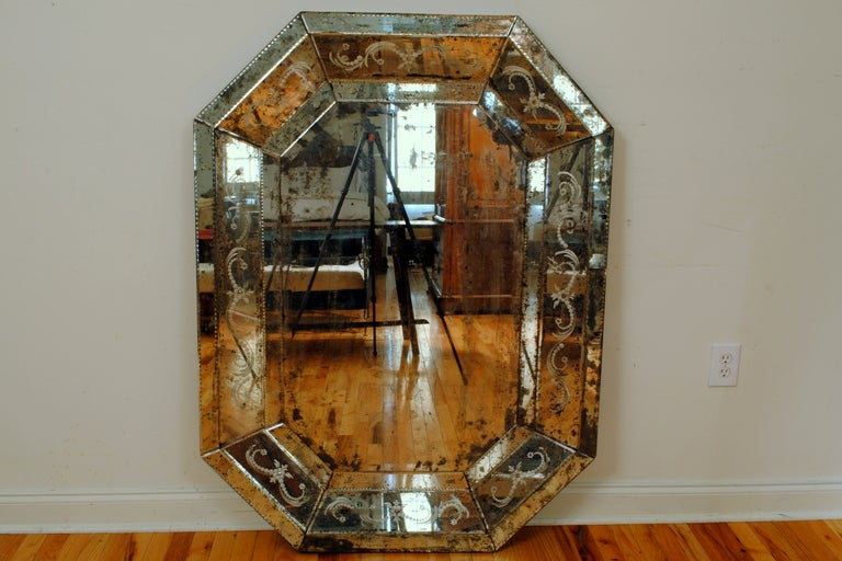 An Antique Glass Elongated Octagonal Etched And Bevelled