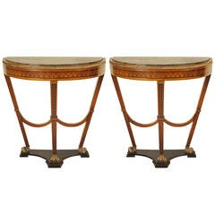 Pair of Continental, Possibly Baltic, Inlaid and Giltwood, Marble-Top Consoles