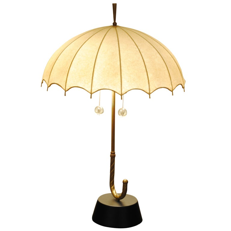 a whimsical brass and hide shade umbrella form table lamp at 1stdibs. Black Bedroom Furniture Sets. Home Design Ideas