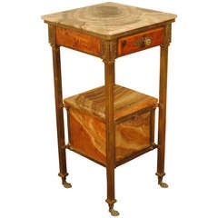 19th Century French Neoclassic Style Brass, Camphorwood and Onyx Vanity Stand