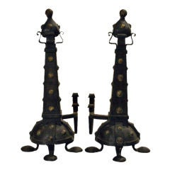 A Pair of Large Arts and Crafts Wrought Iron and Copper Andirons