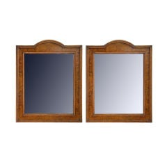 A Pair of Spanish Walnut and Inlaid Neoclassical Style Mirrors