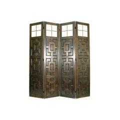 A Tudor Style Oak and Leaded Glass 4-Panel Screen
