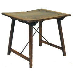 A Spanish Baroque Walnut and Iron Small Writing Table