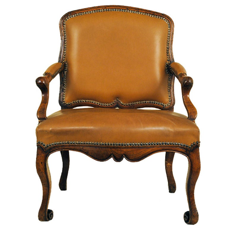 A Unique French Louis Xv Carved Walnut Fauteuil At 1stdibs