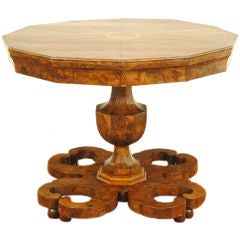 A Rare Italian Neoclassical Root  Walnut Veneer Center Table