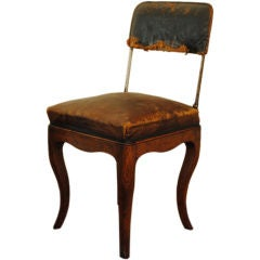 A Rare and Unusual Louis XV Oak, Steel & Leather Folding Chair