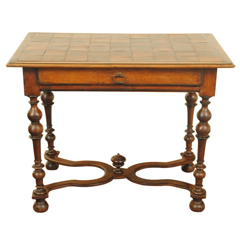 a french louis xiii walnut and parquetry 1 drawer table at 1stdibs. Black Bedroom Furniture Sets. Home Design Ideas