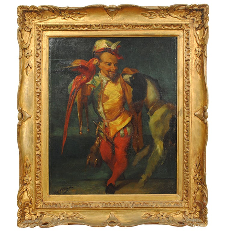 Signed Oil on Canvas of a Jester with Parrot and Dog