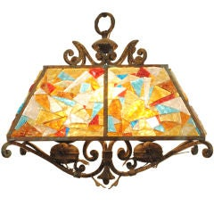 A Continental Wrought Iron and Glass Hanging Lantern