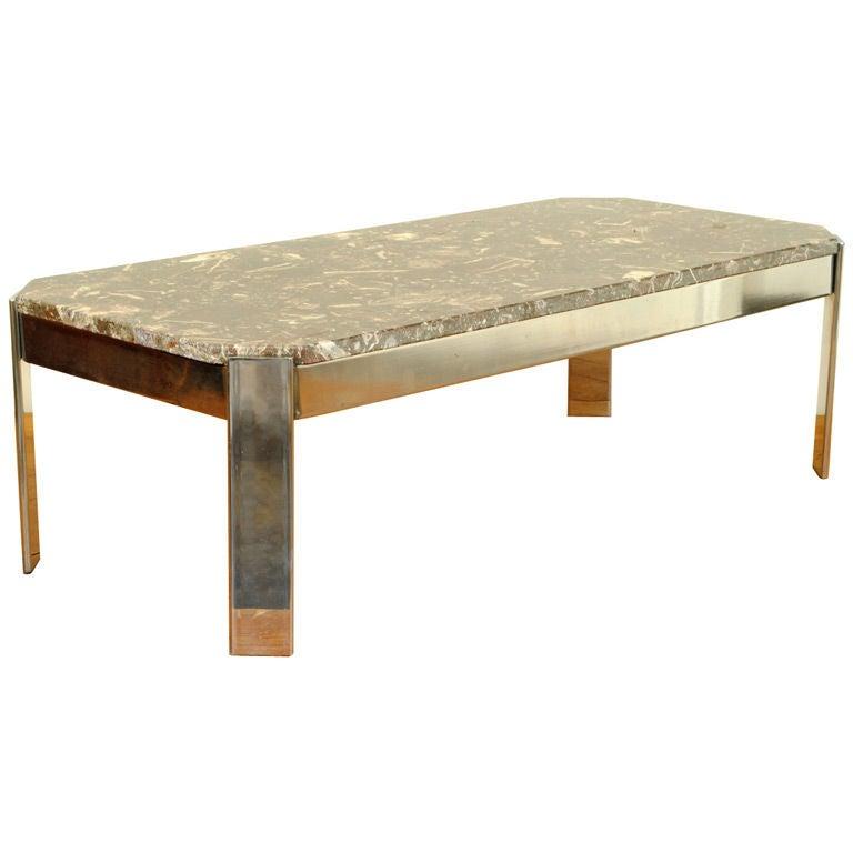 Deco Chrome Coffee Table: An Italian Late Art Deco Chrome And Marble Coffee Table At