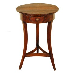 French Walnut and Pinewood 19th Century 1-Drawer Circular Table
