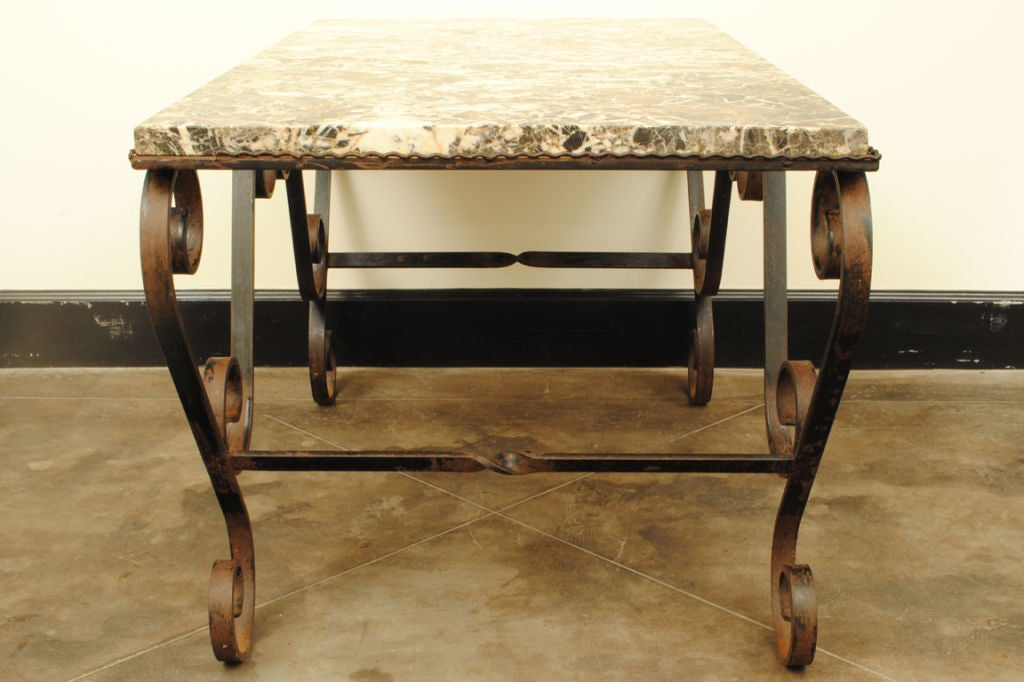 A french baroque style wrought iron and marble coffee for Stone and iron coffee table
