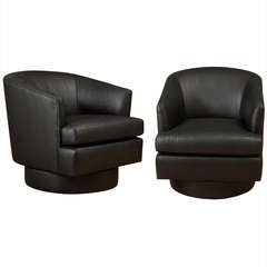 Pair Black Glazed Swivel Chairs