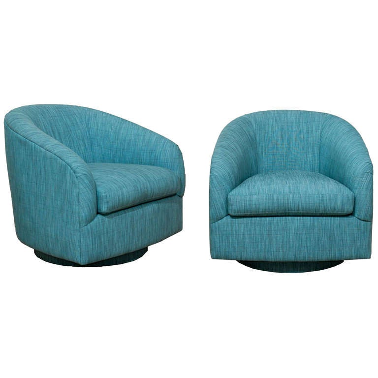 Pair Of Teal Swivel Chairs At 1stdibs