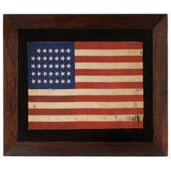 34 Star Flag, Civil War Period, Printed on A Wool Blended Fabric