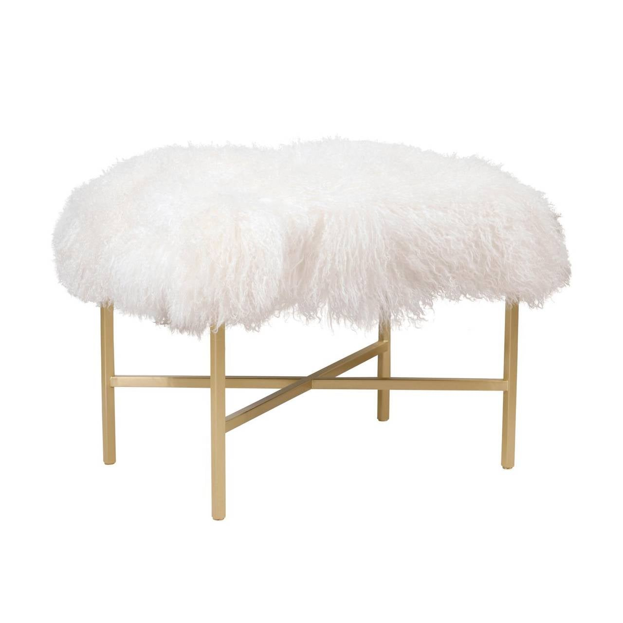 Furry Bench with Brass X Base For Sale