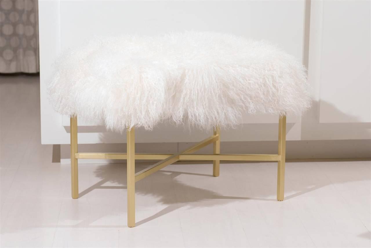 * Tibetan goat fur bench  * Curly white fur  * Satin brass