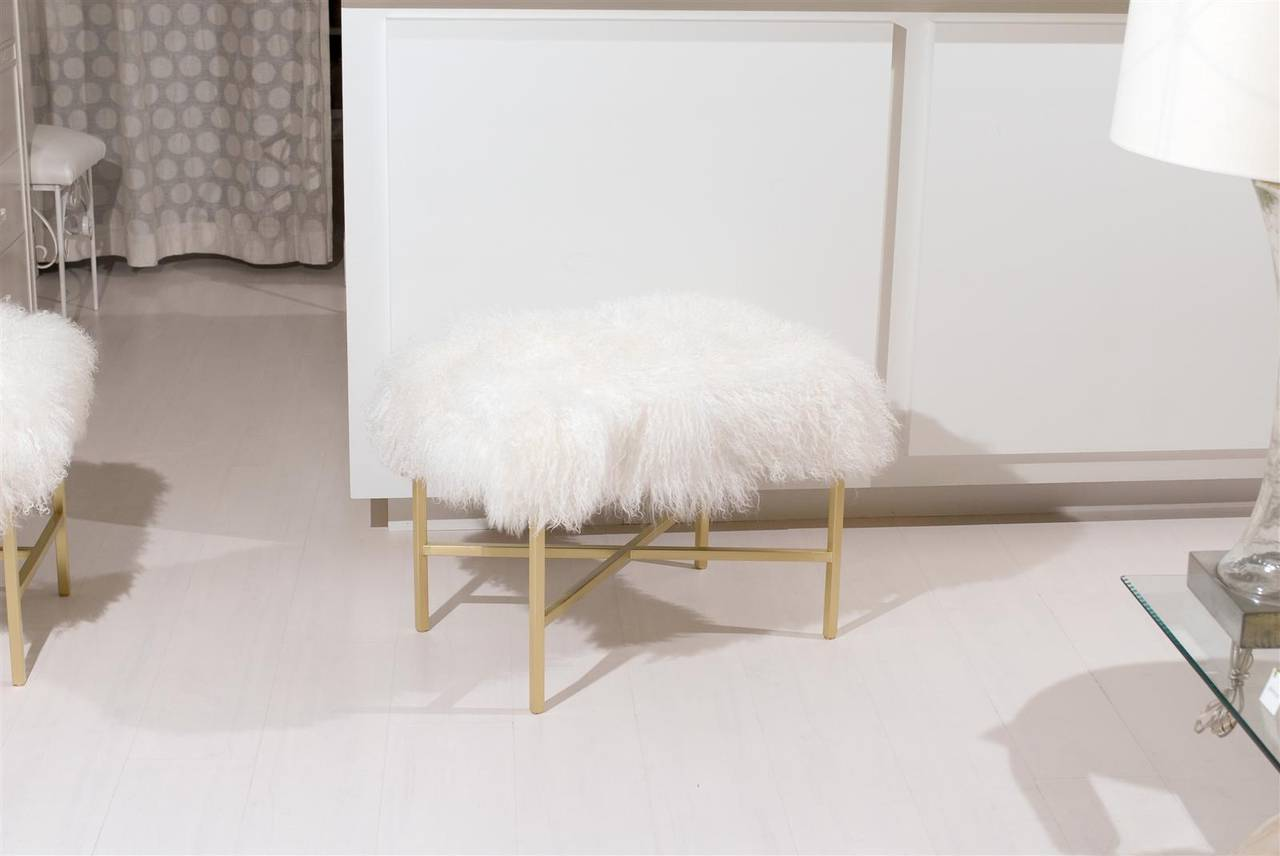 Furry Bench with Brass X Base In Excellent Condition For Sale In Atlanta, GA
