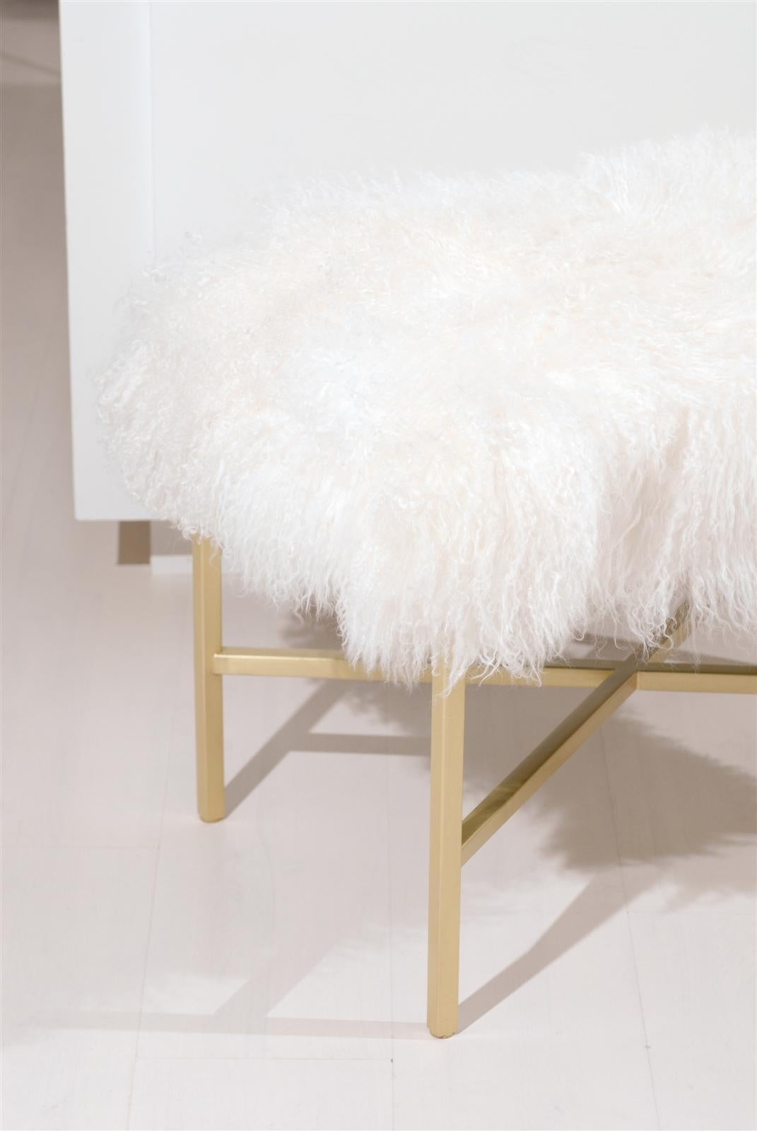 Contemporary Furry Bench with Brass X Base For Sale