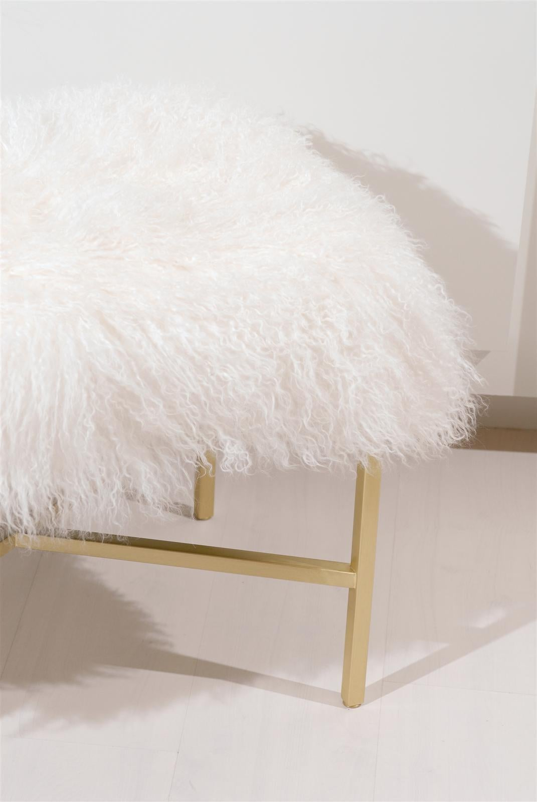 Furry Bench with Brass X Base For Sale 1