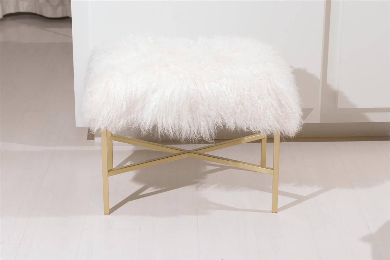 Furry Bench with Brass X Base For Sale 2