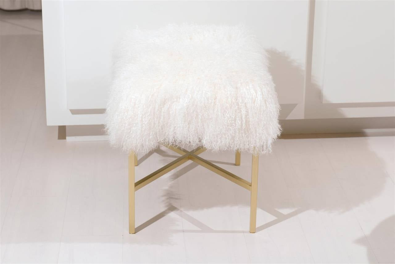 Furry Bench with Brass X Base For Sale 3