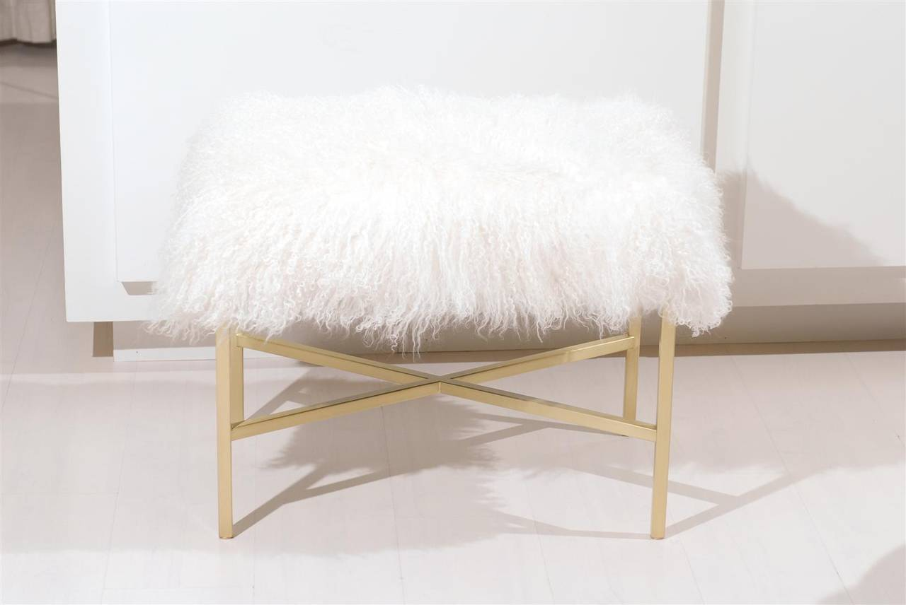 Furry Bench with Brass X Base For Sale 4