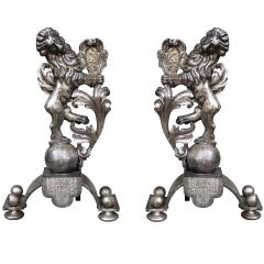Pair of Early 20thC Silvered Bronze Lion Andirons