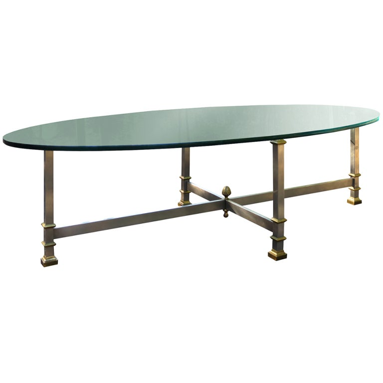 Midcentury Bronze Coffee Table With Glass Top For Sale At