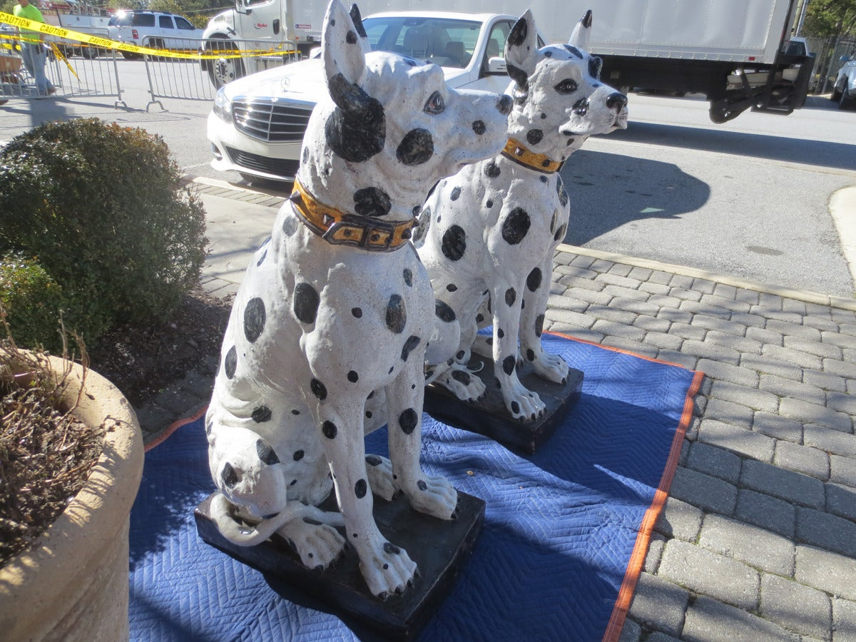Mid-20th Century Unbelievable Large Pair of 20th Century Italian Ceramic Glazed Great Dane Dogs For Sale
