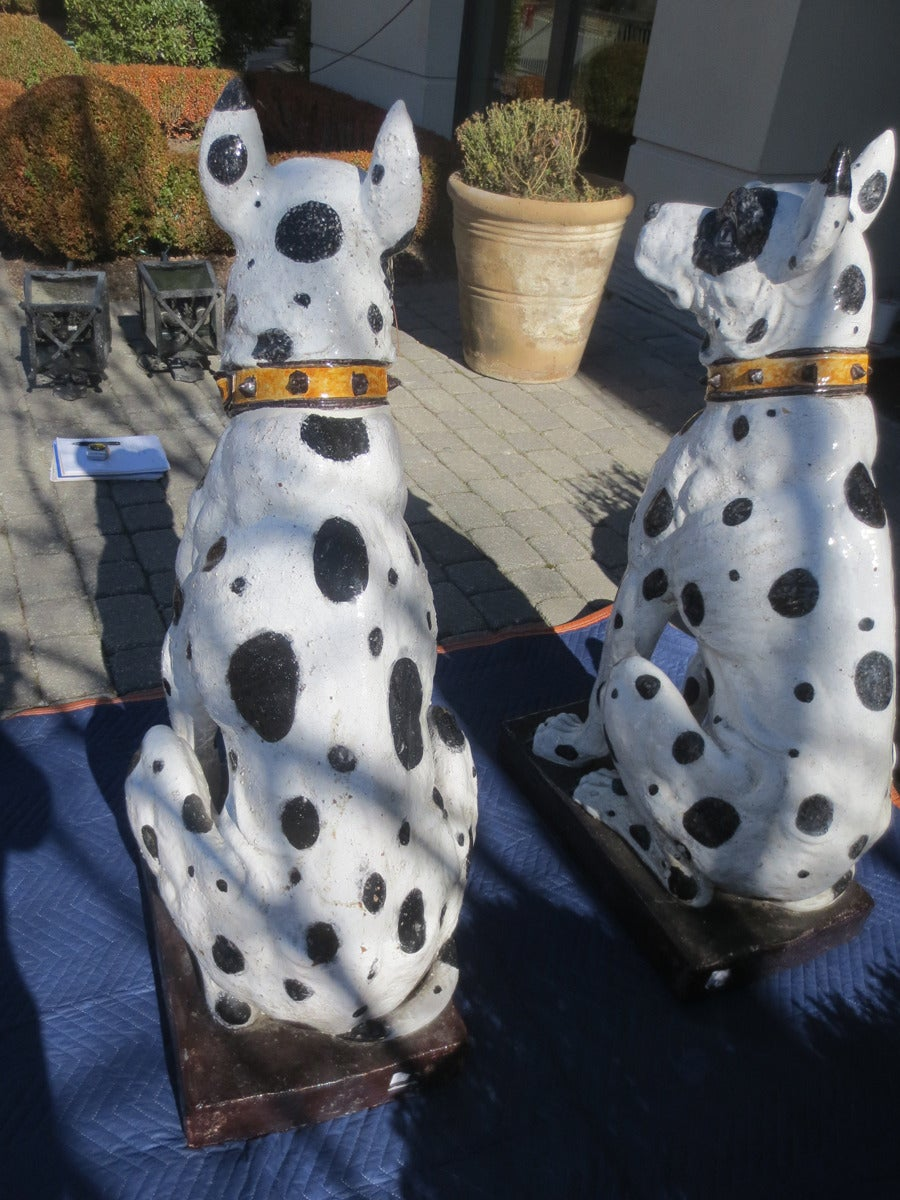 Unbelievable Large Pair of 20th Century Italian Ceramic Glazed Great Dane Dogs For Sale 4