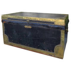19th Century English Ede & Sons Black Leather Trunk