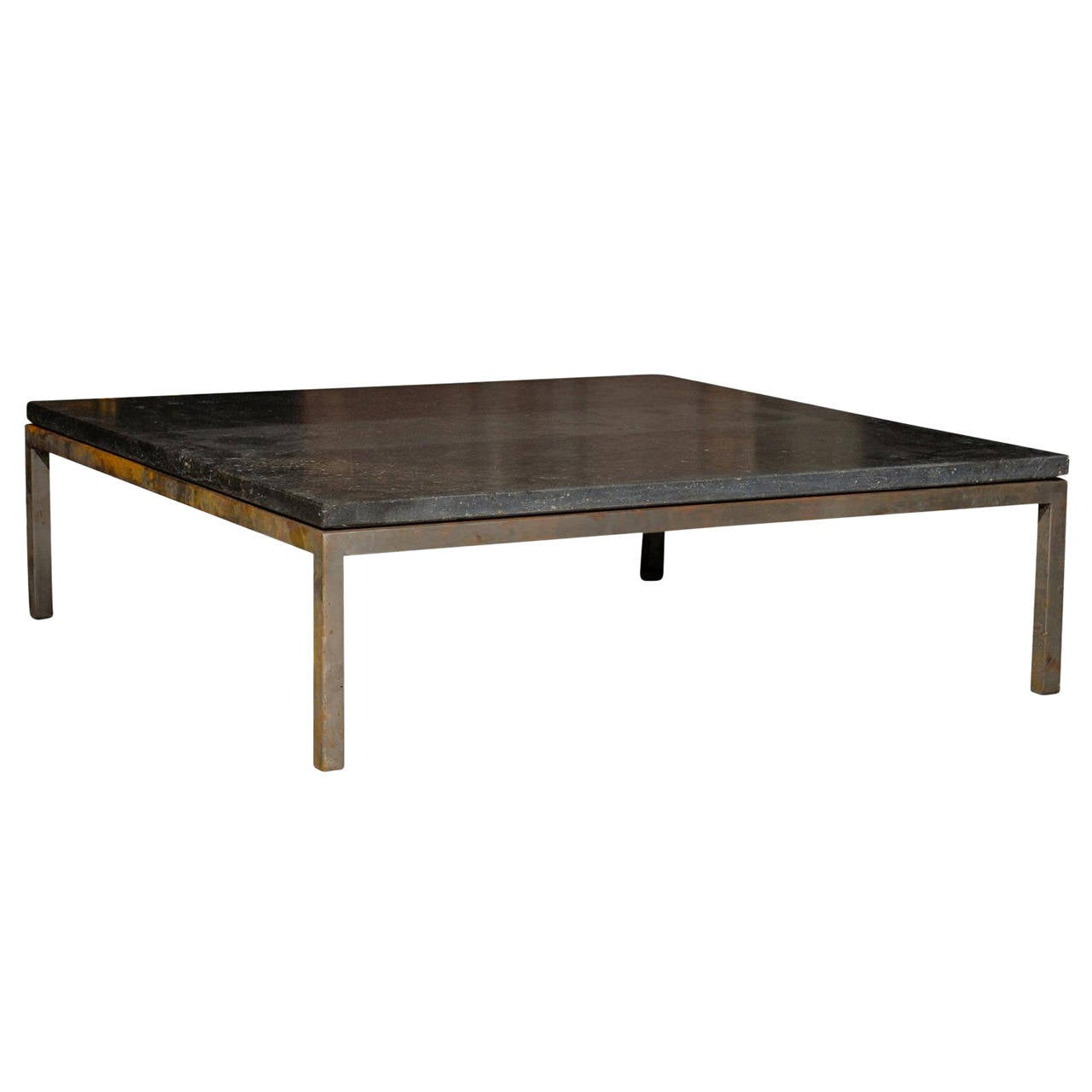 Mid Century Square Steel Coffee Table With Black Marble Top At 1stdibs