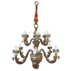 Early 20th Century Large Iron, Tole and Wood Chandelier, Italian Style